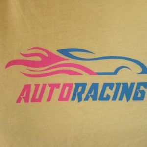 FRENCH PASTRY tee l/s cropped yellow auto racing M